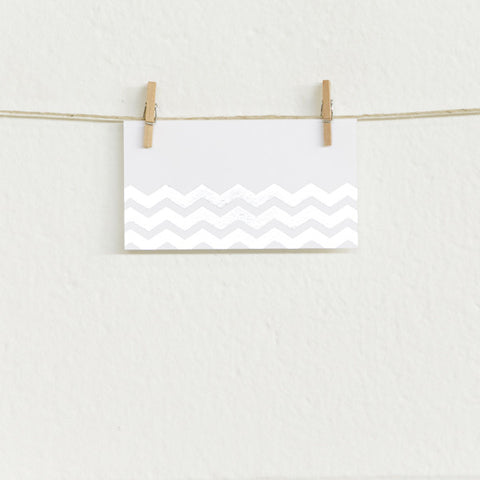 'Chevron' Silver Foil on White, Place Cards, 50pk
