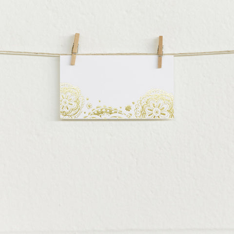 'Doily' Gold Foil on White, Place Cards, 10pk