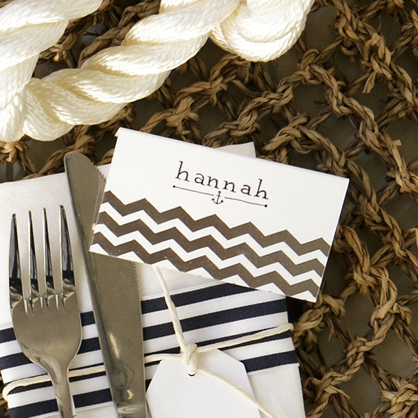 'Chevron' Silver Foil on White, Place Cards, 10pk
