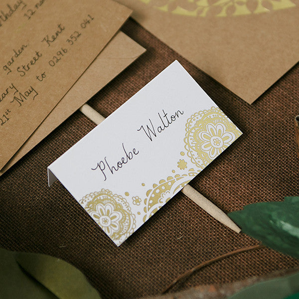'Doily' Gold Foil on White, Place Cards, 50pk