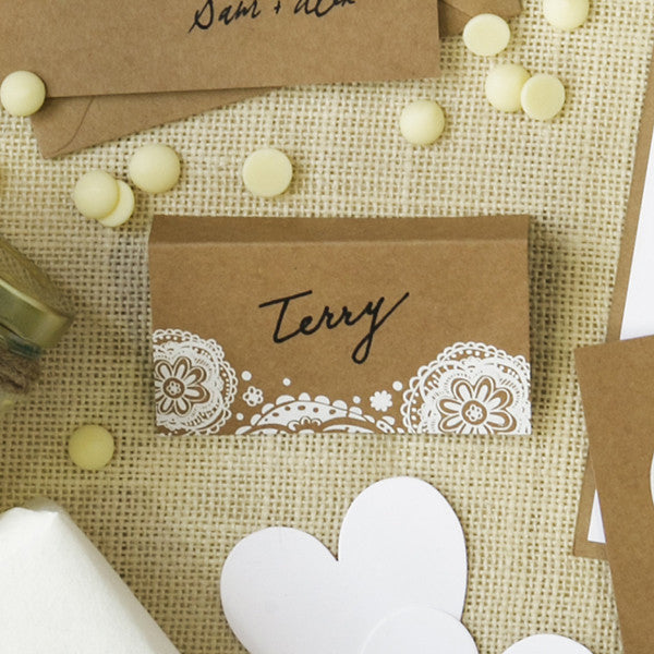 'Doily' White Foil on Kraft, Place Cards, 10pk