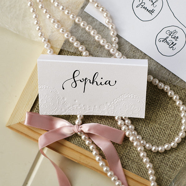 'Doily' Embossed on White, Place Cards, 10pk