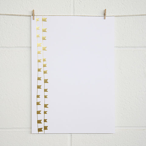 'Bunting' Gold Foil on White, PRINTme Paper, 10pk