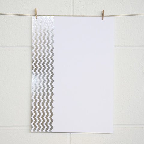 'Chevron' Silver Foil on White, PRINTme Paper, 10pk