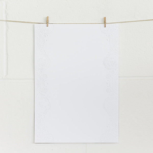 'Doily' Embossed on White, PRINTme Paper, 10pk