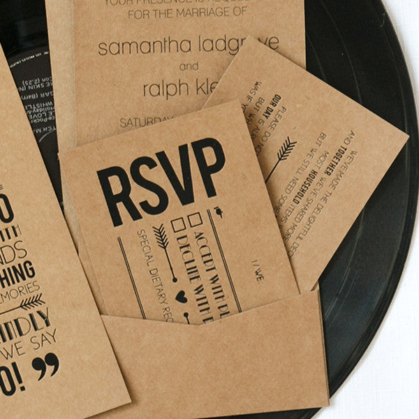 'Tie the Knot' Black Foil on Kraft, RSVP Cards, 10pk