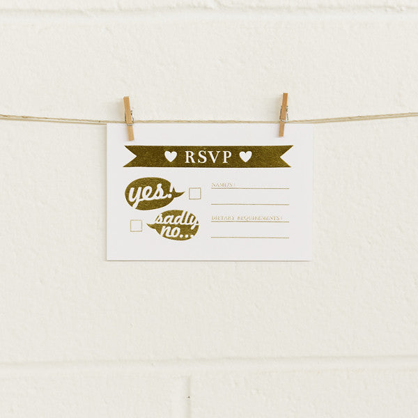 'Boy Meets Girl' Gold Foil on White, RSVP Cards, 10pk