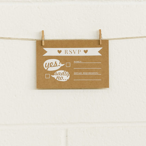 'Boy Meets Girl' White Foil on Kraft, RSVP Cards, 10pk