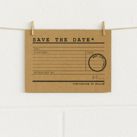 'It's Official' Black Foil on Kraft, Save the Date Cards, 20pk
