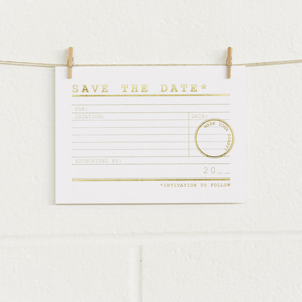 'It's Official' Gold Foil on White, Save the Date Cards, 20pk