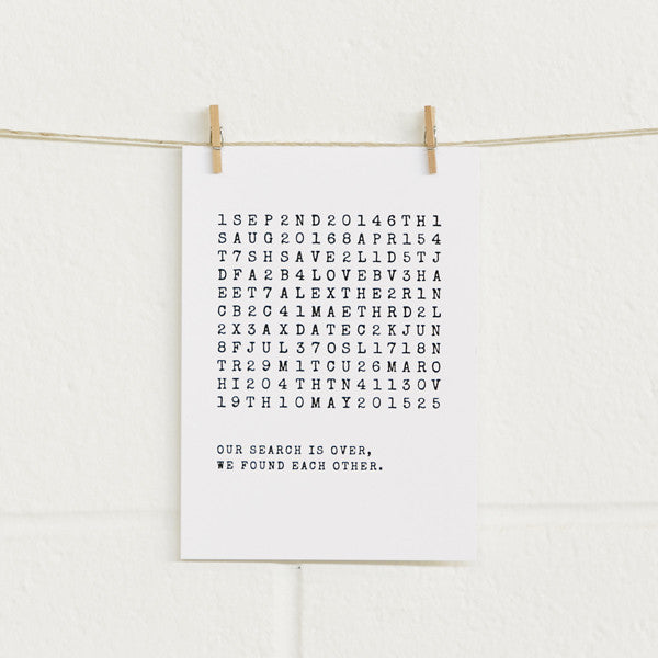 'Wordsearch' Black Foil on White, Save the Date Cards, 20pk