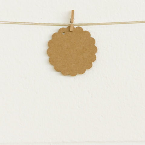 Scalloped Tags, Kraft, 20pk