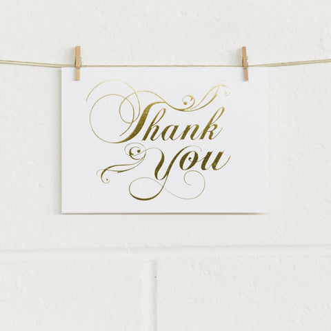 'Flourish Thanks' Gold Foil on White, Thank You Cards, 10pk