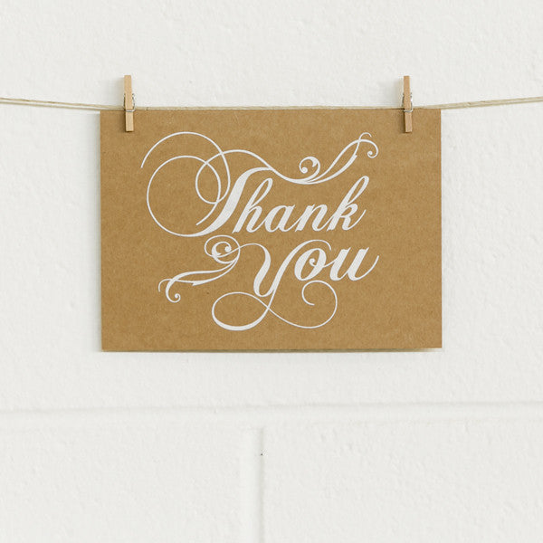 'Flourish Thanks' White Foil on Kraft, Thank You Cards, 10pk