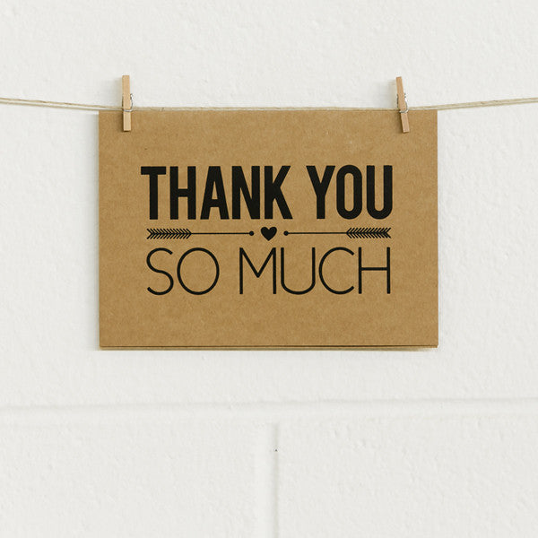 'So Much Thanks' Black Foil on Kraft, Thank You Cards, 10pk