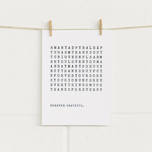 'Wordsearch' Black Foil on White, Thank You Cards, 10pk