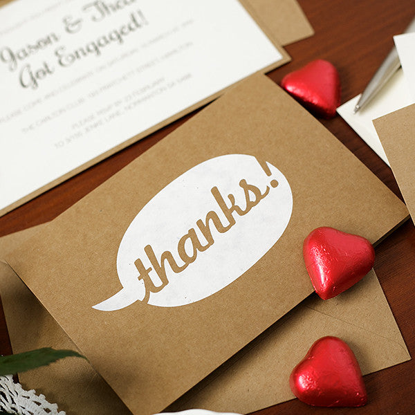 'Say Thanks' White Foil on Kraft, Thank You Cards, 10pk