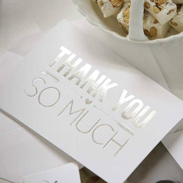 'So Much Thanks' Silver Foil on White, Thank You Cards, 40pk