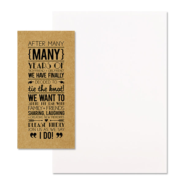 'Tie the Knot' Black Foil on Kraft, DIY Set A, 10pk