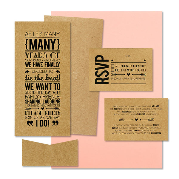 'Tie the Knot' Black Foil on Kraft, DIY Set B, 10pk