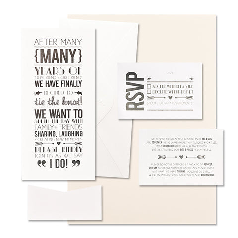'Tie the Knot' Silver Foil on White, DIY Set B, 10pk