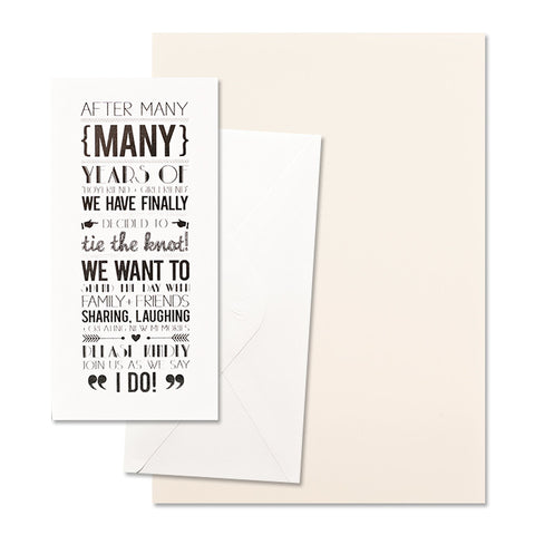 'Tie the Knot' Silver Foil on White, DIY Set C, 10pk