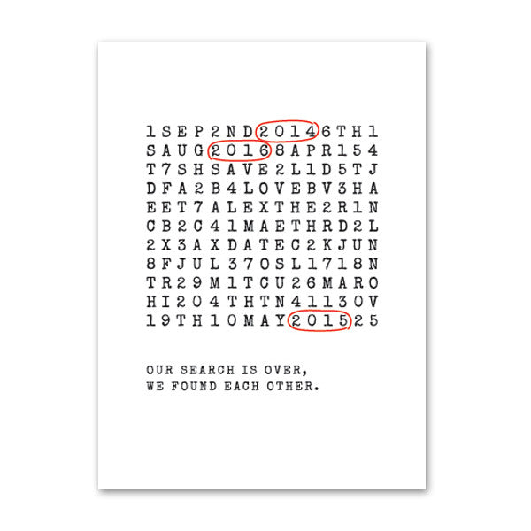 'Wordsearch' White Foil on Kraft, Save the Date Cards, 20pk