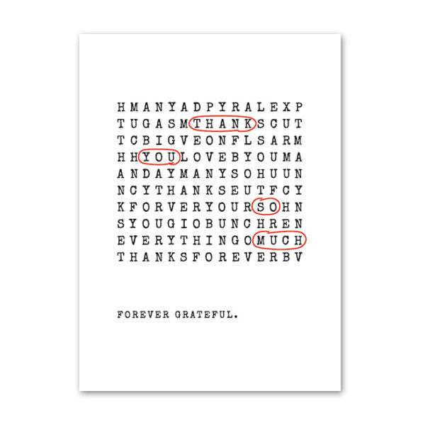 'Wordsearch' Black Foil on White, Thank You Cards, 50pk