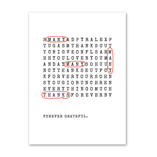 'Wordsearch' White Foil on Kraft, Thank You Cards, 50pk