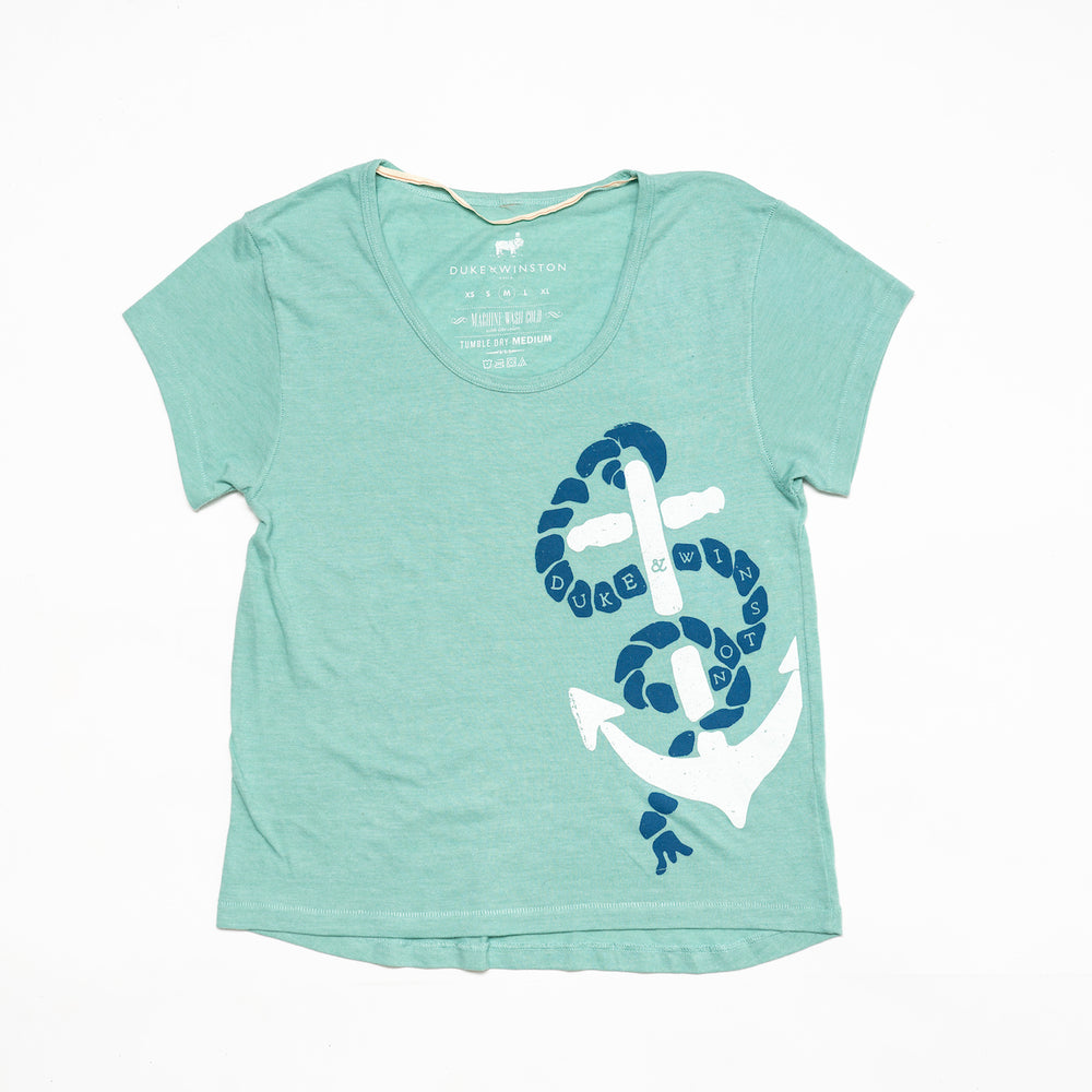 Anchor Scoop Tee (Heather Seafoam)
