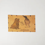Antique Bulldog & Cat Leather Postcard (c.1906) - SOLD
