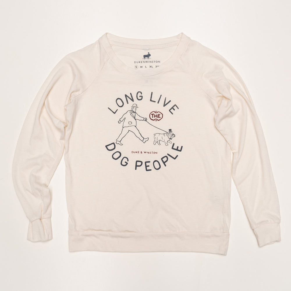 Long Live Dog People Ladies Pullover (Eco-Ivory)