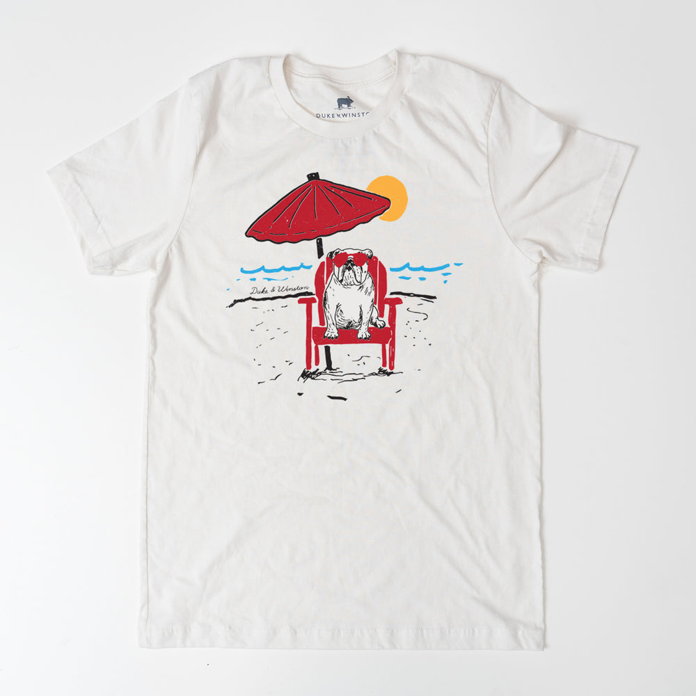 Beach Bulldog Tee (Vintage White)