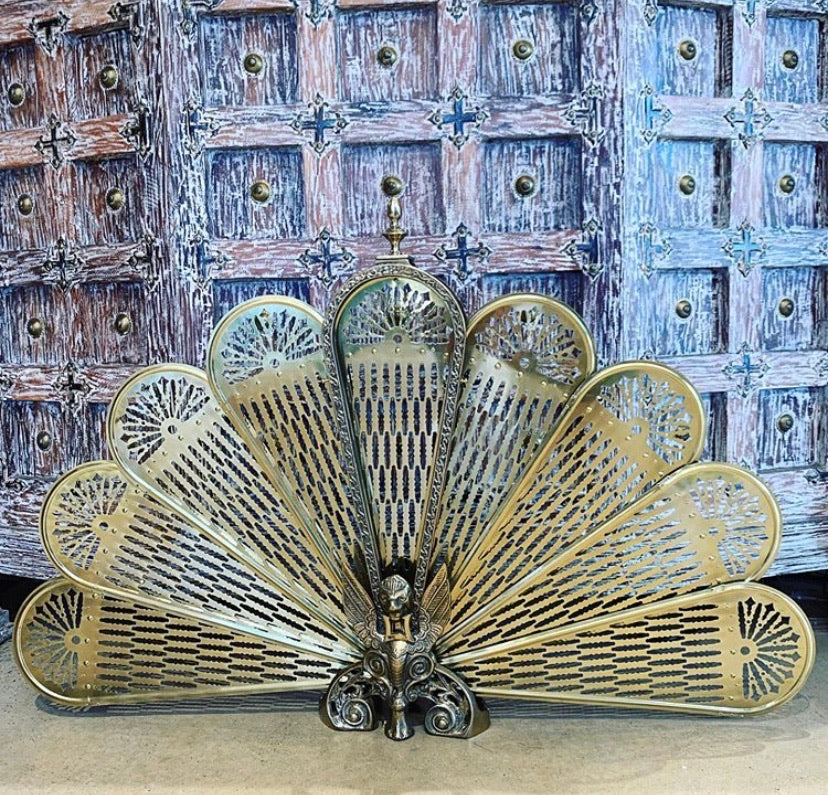 Vintage Griffith brass fireplace screen