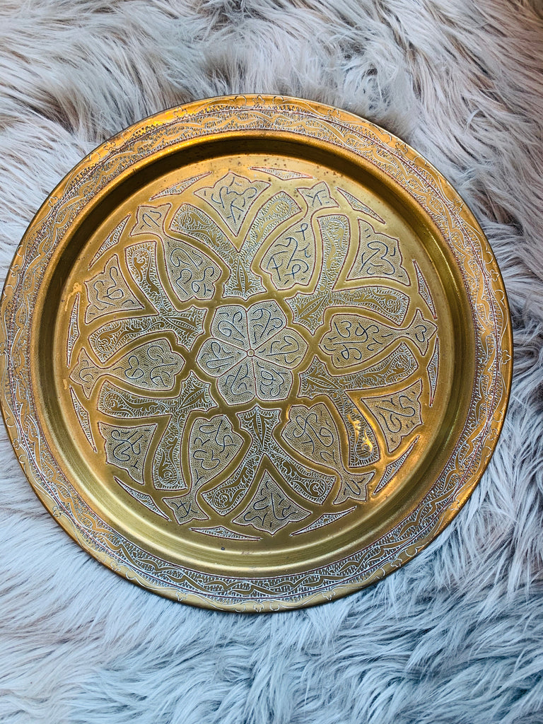 Vintage brass etched round tray