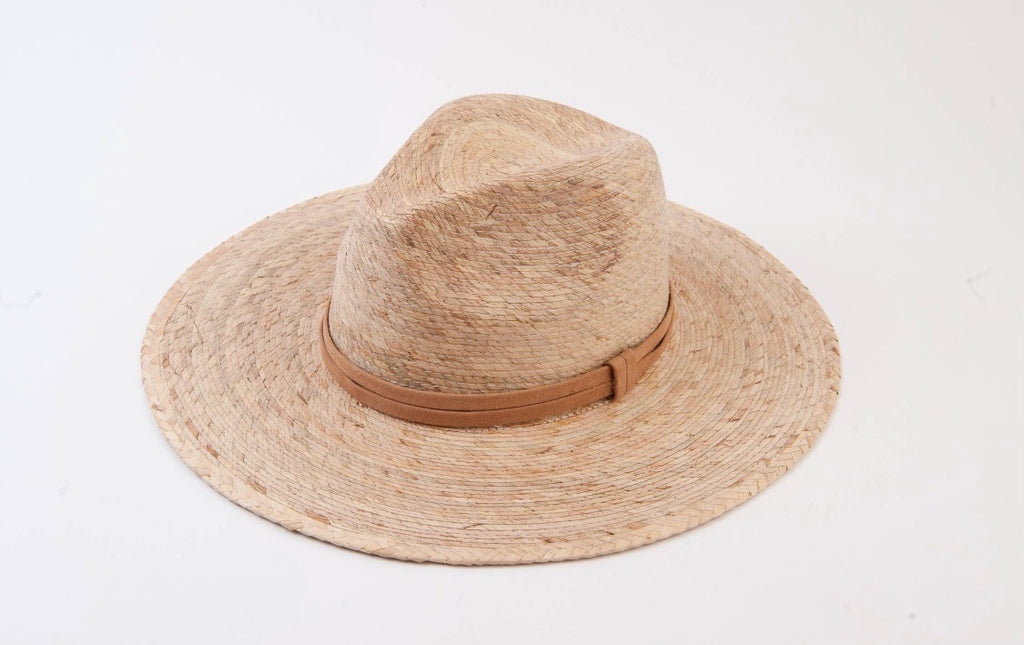 palm fedora with suede trim