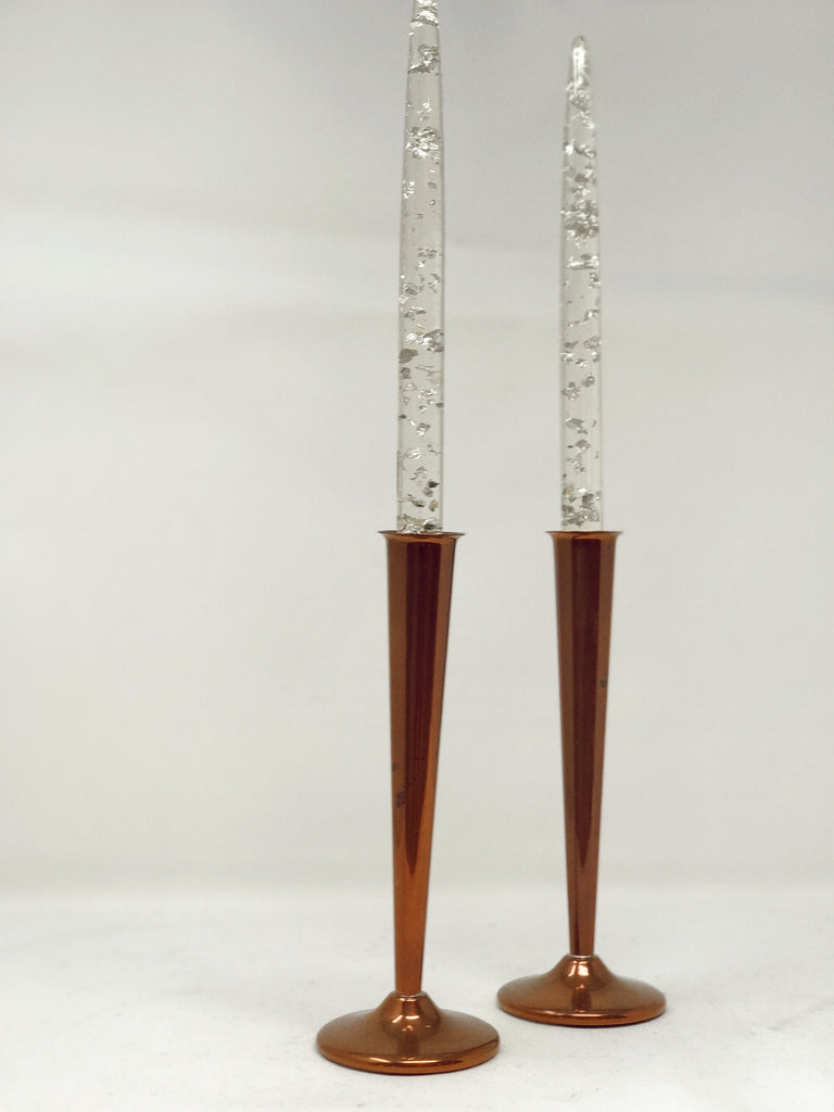 Pair of (vintage) copper candlesticks