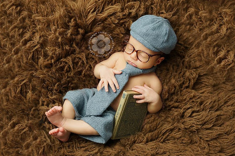 Newborn Newsboy Set in Blue Herringbone - Ready to Ship