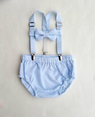 Oliver Set in Baby Blue and White Seersucker