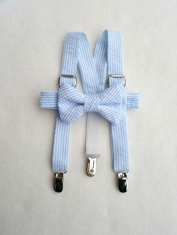 Baby Blue Seersucker Suspenders and Bow Tie
