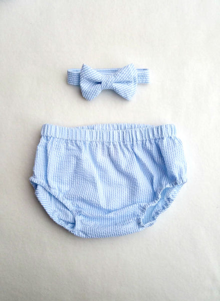 Baby Blue Seersucker Diaper Cover and Bow Tie