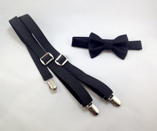 Black Bow Tie and Suspenders