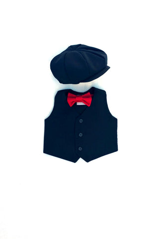 Black Suiting Cap, Vest, and Red Tie