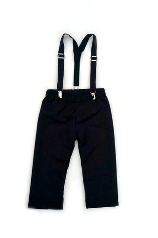 Suspenders and Pants or Shorts in Soft Black Suiting