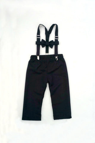 Black Suspenders, Bow Tie, and Pants or Shorts