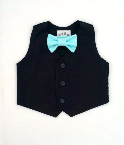 Black Vest with Choice of Bow Tie Color
