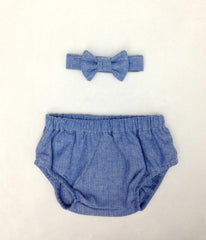 Blue Herringbone Diaper Cover and Bow Tie