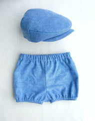 Blue Herringbone Shorties and Flat Cap Set