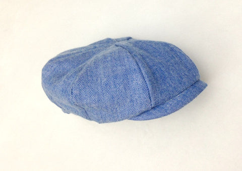 Newsboy Hat in Blue Herringbone