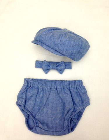 Blue Herringbone Charlie Newsboy Set